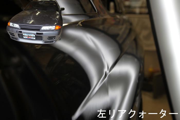 R32GTRリアクォーターのへこみ、修理前の写真!