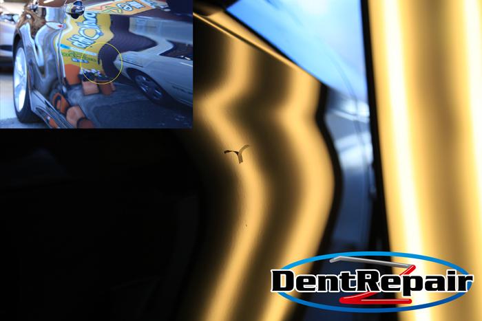 BMW運転席ドアのへこみ、修理後の写真