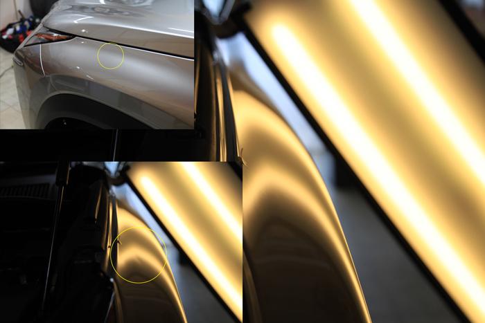 NX200t左フロントフェンダーのへこみ、修理前後の写真