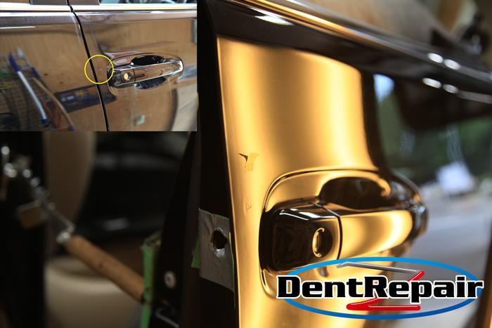 プラド運転席ドアのへこみ、修理後の写真