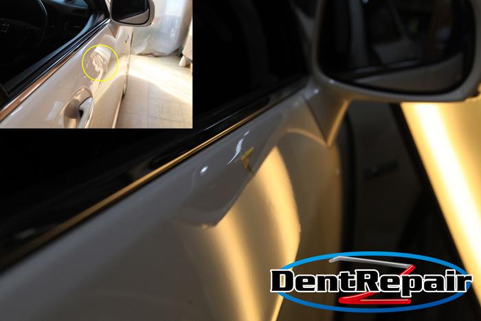 クラウン運転席ドアのへこみ、修理後の写真