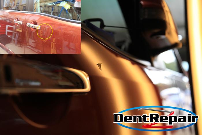 セレナ運転席ドアのへこみ、修理後の写真
