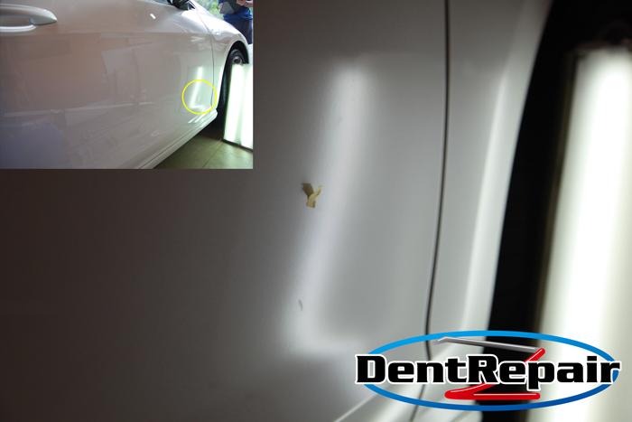 ワーゲン・ゴルフ運転席ドアのへこみ、修理後の写真