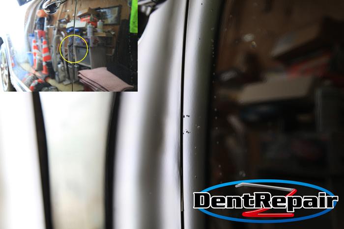 CX-8助手席ドアのふちの折れ、修理後の写真
