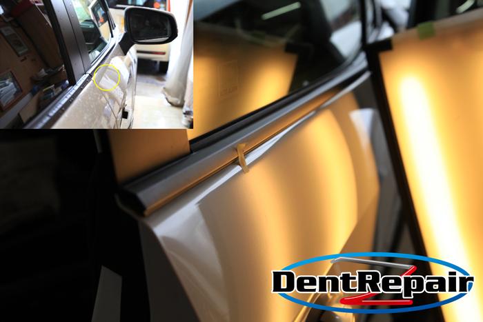 RAV4運転席ドアのへこみ、修理後の写真