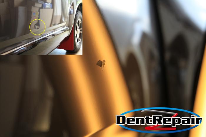 デリカD5運転席ドアのへこみ、修理後の写真